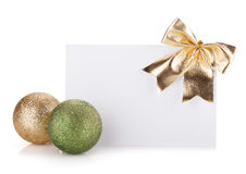 Empty gift card and christmas decor Royalty Free Stock Photos