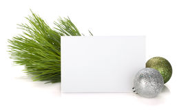 Empty gift card and christmas decor Stock Photos