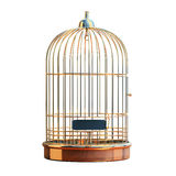 Empty gilded cage. Empty bird golden cage on the table Royalty Free Stock Photography
