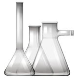 Empty glass beakers and flasks Royalty Free Stock Photos