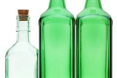 Empty glass bottle with stopper Stock Images