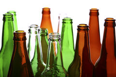 Empty glass bottles Stock Photo