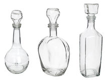 Empty glass bottles collection Stock Photography