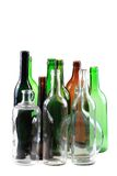 Empty glass bottles isolated Royalty Free Stock Photography