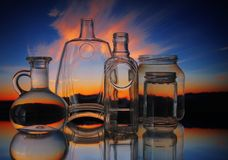 Empty transparent glass bottles forms stock photography