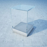 Empty glass box. On concrete floor. 3D illustration Royalty Free Stock Photos