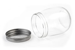 Empty glass canister in white background Stock Photo