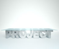 Empty glass and concrete PROJECT table against the white background. Bussines concept Royalty Free Stock Photo