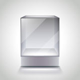 Empty glass cube showcase for exhibition vector. Empty glass cube showcase for exhibition photo realistic vector Stock Photography