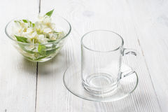 Empty glass cup, ready for herbal tea Stock Photography