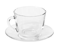 Empty Glass cup and saucer Royalty Free Stock Photo