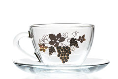 Empty Glass cup and saucer Royalty Free Stock Photography
