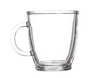 Empty glass cup of tea with handle isolated on white background Stock Photo