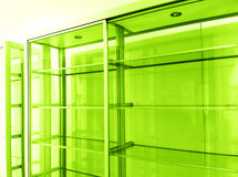 Empty glass display shelves Royalty Free Stock Photography