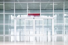 Empty glass door in office building. With copy space stock photography