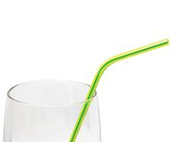 Empty Glass Drinking straw macro isolated, yellow Stock Photos