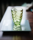 Empty glass on electronic scale Royalty Free Stock Photos