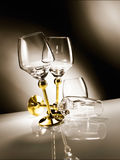 Empty glass with golden stem Stock Photo