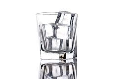 Empty glass with ice cubes Royalty Free Stock Photos