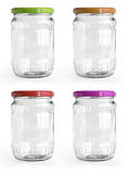 Empty glass jar with aluminum lid over white backg Royalty Free Stock Photo