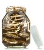 An empty glass jar of chocolate spread Stock Image