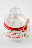 Empty glass jar for cookies. Christmas decoration. Selective focus. Royalty Free Stock Photography