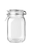 Empty glass jar. Isolated on a white background stock photography