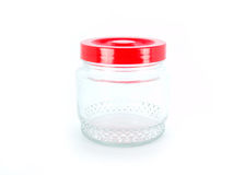 Empty glass jar isolated on white. Empty canning jar on a white backgroun Royalty Free Stock Image
