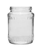 Empty glass jar isolated on white Royalty Free Stock Photos