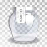 Empty glass jar with a label on a transparent background. The new packaging design. Royalty Free Stock Photo