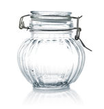 Empty glass jar with lid. On white background Stock Photography