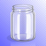 Empty glass jar mockup. Empty glass jar without lid template mockup, 3D illustration container collection  on transparent background Stock Image