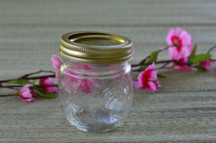 Empty glass jar. Stock Photo