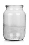 Empty Glass jar on white Royalty Free Stock Photo