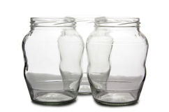 Empty glass jars five Royalty Free Stock Photos