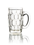Empty glass mug of beer isolated on white Royalty Free Stock Photo