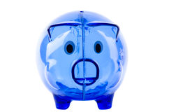 Empty glass piggy bank Stock Images