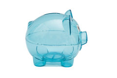 Empty glass piggy bank Stock Photos