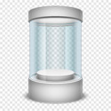 Empty glass shop cylinder showcase, display box on transparent background vector illustration Stock Image