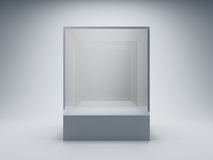 Empty glass showcase. For exhibit Stock Images