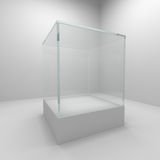 Empty glass showcase. In room Royalty Free Stock Images
