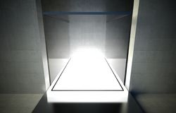 Empty glass showcase, 3d exhibition space Royalty Free Stock Photography