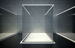 Empty glass showcase, 3d exhibition space Stock Photography