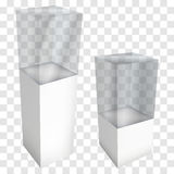 Empty glass showcase for exhibit. 3d vector. Empty glass showcase for exhibit. 3D Vector illustration on transparent white background. Trade show booth white royalty free illustration