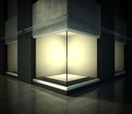 Empty glass showcase, exhibition space on street Royalty Free Stock Photo