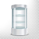 Empty Glass Showcase Vector. Realistic Round Showcase For Exhibit With Shelves.Shop Expo Cylinder. Illustration Isolated On Transp. Empty Glass Showcase Vector Stock Photo