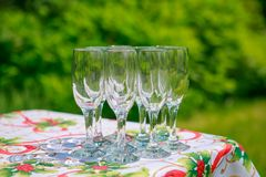 Empty glass on the table. On the natural backgound Royalty Free Stock Images
