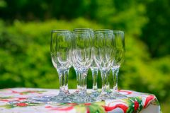 Empty glass on the table. On the natural backgound Royalty Free Stock Photo