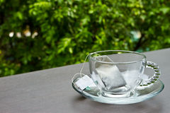 Empty glass of tea Stock Photo