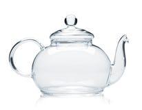 Empty glass teapot. Isolated on white background stock photos
